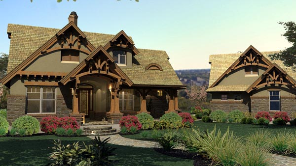 House Plan 65870 | Bungalow Cottage Craftsman Tuscan Style Plan with 1421 Sq Ft, 3 Bedrooms, 2 Bathrooms, 2 Car Garage