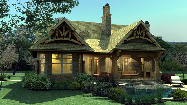 Bungalow, Cottage, Craftsman, Tuscan House Plan 65870 with 3 Beds, 2 Baths, 2 Car Garage Picture 7