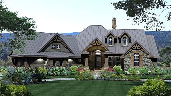 Craftsman European Tuscan Elevation of Plan 65871