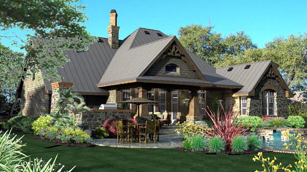 Craftsman European Tuscan Rear Elevation of Plan 65871