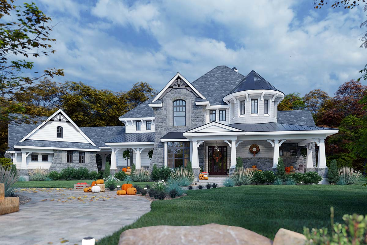 Cottage Craftsman European Tuscan House Plan 65872