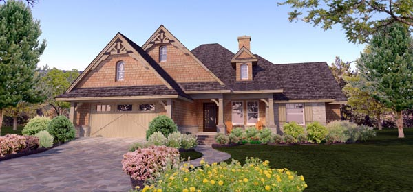 Cottage, Craftsman, Ranch, Tuscan House Plan 65873 with 4 Beds, 2 Baths, 2 Car Garage Front Elevation