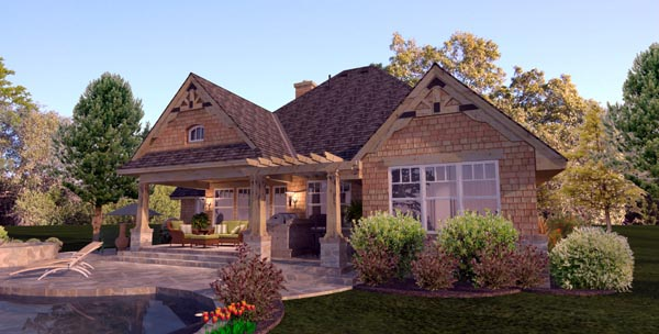 Cottage, Craftsman, Ranch, Tuscan House Plan 65873 with 4 Beds, 2 Baths, 2 Car Garage Picture 3