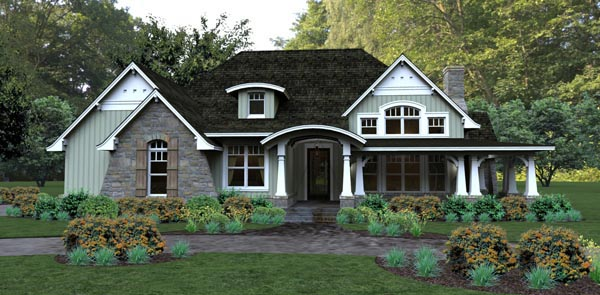 Bungalow , Cottage , Country , Tuscan House Plan 65875 with 3 Beds, 3 Baths, 2 Car Garage Elevation
