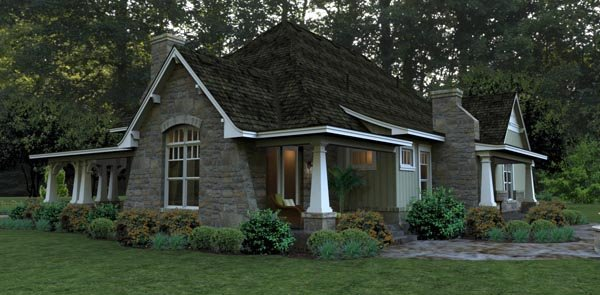 Bungalow, Cottage, Country, Tuscan House Plan 65875 with 3 Beds, 3 Baths, 2 Car Garage Picture 3