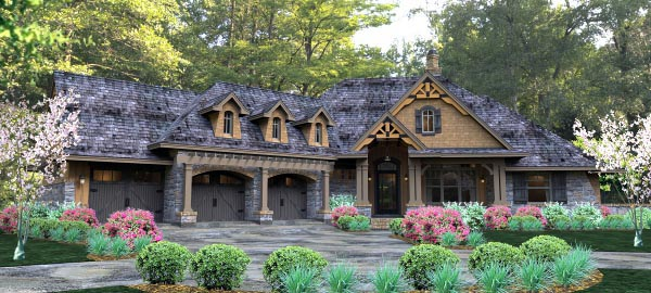 House Plan 65877 | Cottage Country Craftsman Traditional Tuscan Style Plan with 2495 Sq Ft, 3 Bedrooms, 3 Bathrooms, 3 Car Garage Elevation