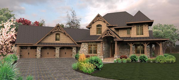 Craftsman, Tuscan House Plan 65880 with 4 Beds, 4 Baths, 3 Car Garage Elevation