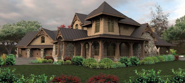 Craftsman Tuscan House Plan 65880