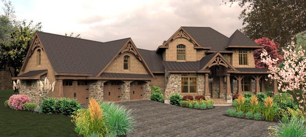 Craftsman, Tuscan House Plan 65880 with 4 Beds, 4 Baths, 3 Car Garage Picture 8