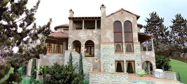 Italian Mediterranean Tuscan House Plan 65881 Rear Elevation