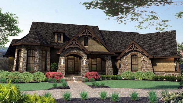 Craftsman , Tuscan House Plan 65888 with 3 Beds, 3 Baths, 2 Car Garage Elevation