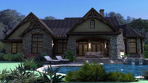 Craftsman , Tuscan House Plan 65888 with 3 Beds, 3 Baths, 2 Car Garage Rear Elevation