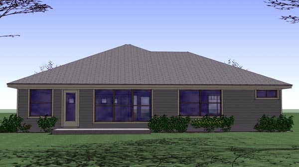Cottage, Country, Traditional House Plan 65890 with 3 Beds, 2 Baths, 2 Car Garage Rear Elevation