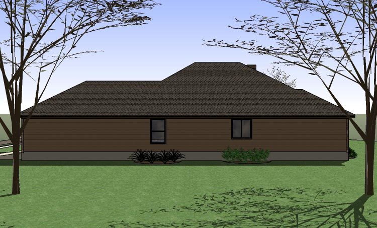 Coastal , Country , Traditional , Rear Elevation of Plan 65891