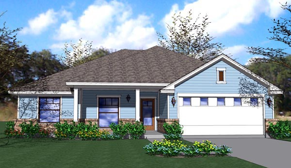 Cottage, Craftsman, Traditional House Plan 65892 with 4 Beds, 2 Baths, 2 Car Garage Elevation