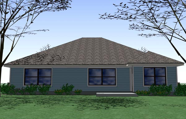 Cottage, Craftsman, Traditional House Plan 65892 with 4 Beds, 2 Baths, 2 Car Garage Rear Elevation
