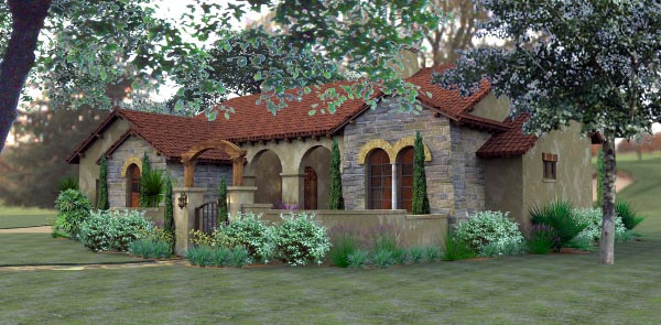 Home Elevation For N Style : Cottage european mediterranean tuscan house plan