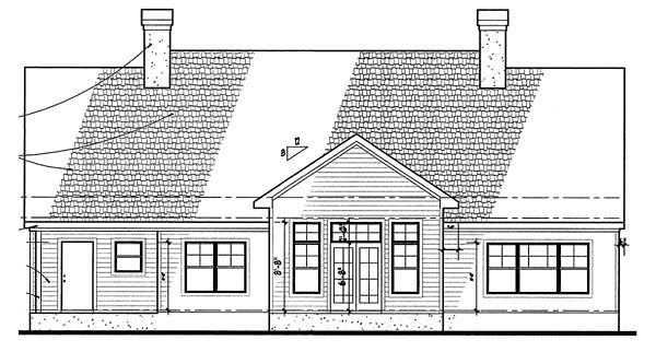 Colonial Traditional Rear Elevation of Plan 65894