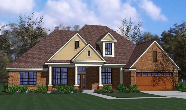 Coastal, Colonial, Traditional House Plan 65896 with 3 Beds, 2 Baths, 2 Car Garage Elevation