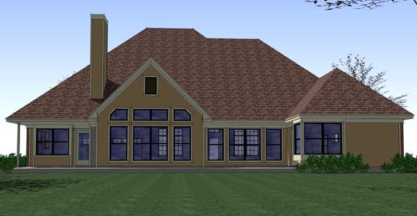 Coastal, Colonial, Traditional House Plan 65896 with 3 Beds, 2 Baths, 2 Car Garage Rear Elevation