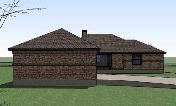 Country Southern Traditional Rear Elevation of Plan 65897