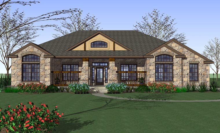Cottage, Country, Traditional House Plan 65898 with 3 Beds, 2 Baths, 2 Car Garage Elevation