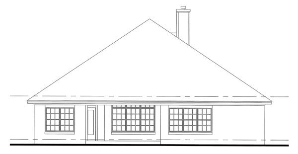Cottage , Country , Traditional , Rear Elevation of Plan 65899
