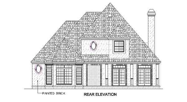 European House Plan 65901 Rear Elevation