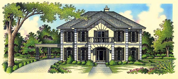 European House Plan 65910 Elevation