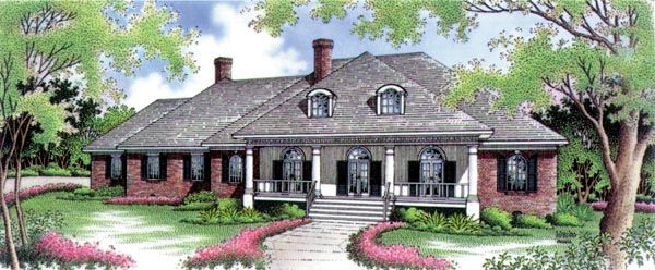 Country, One-Story House Plan 65913 with 4 Beds, 5 Baths, 3 Car Garage Elevation