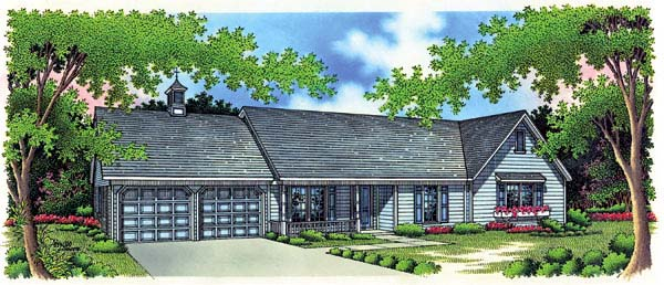 One-Story, Ranch House Plan 65916 with 3 Beds, 2 Baths, 2 Car Garage Elevation