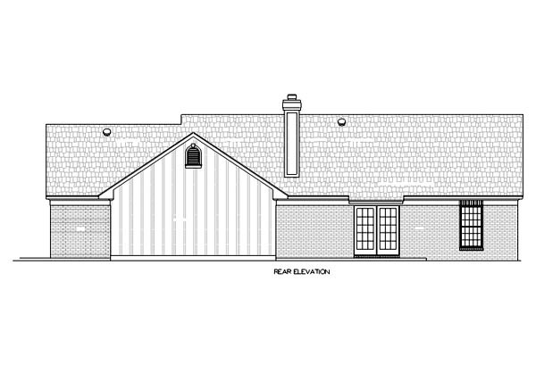 House Plan 65928 with 3 Beds, 2 Baths, 2 Car Garage Rear Elevation