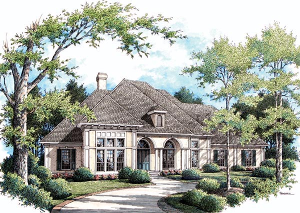 One-Story House Plan 65932 with 4 Beds, 4 Baths, 3 Car Garage Elevation