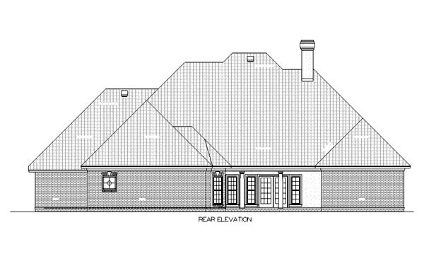 One-Story House Plan 65932 with 4 Beds, 4 Baths, 3 Car Garage Rear Elevation