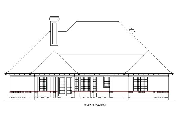 Country Traditional Rear Elevation of Plan 65954