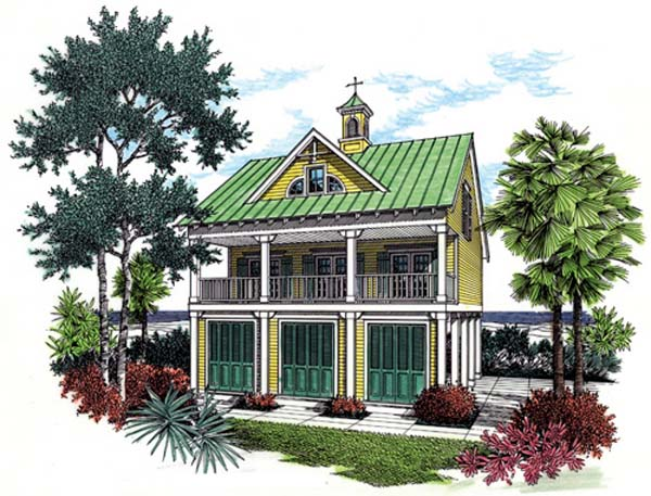 Coastal House Plan 65957 with 3 Beds, 3 Baths, 1 Car Garage Elevation
