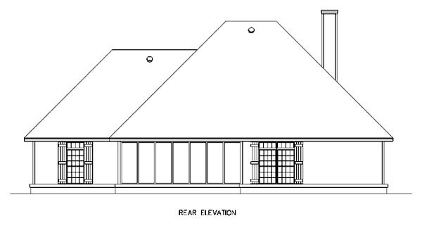 Country Craftsman Southern Traditional House Plan 65962 Rear Elevation