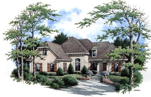 European , Southern , Traditional House Plan 65963 with 3 Beds, 4 Baths, 2 Car Garage Elevation