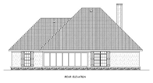 European , Southern , Traditional House Plan 65963 with 3 Beds, 4 Baths, 2 Car Garage Rear Elevation