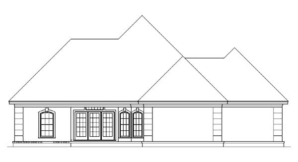 European Mediterranean Rear Elevation of Plan 65964