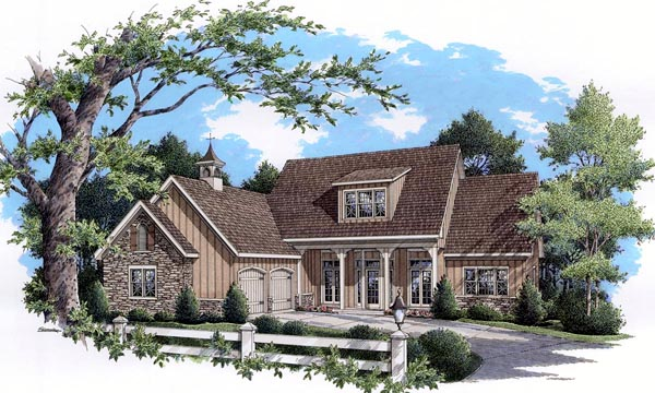 Cottage Country Farmhouse Ranch Southern Traditional Elevation of Plan 65965