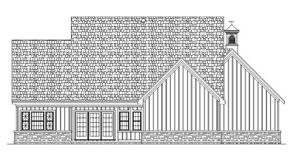 Cottage Country Farmhouse Ranch Southern Traditional Rear Elevation of Plan 65965