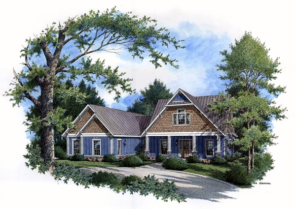 Country Craftsman Farmhouse Southern Traditional House Plan 65967 Elevation