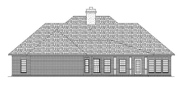 House Plan 65972 with 4 Beds, 2 Baths, 2 Car Garage Rear Elevation