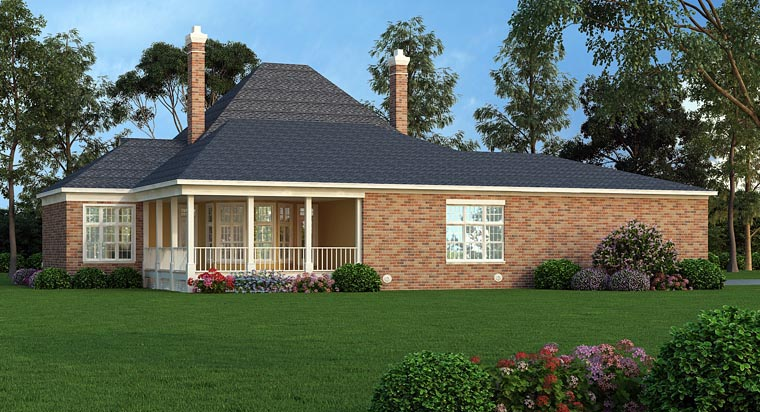 House Plan 65977 with 4 Beds, 4 Baths, 3 Car Garage Rear Elevation