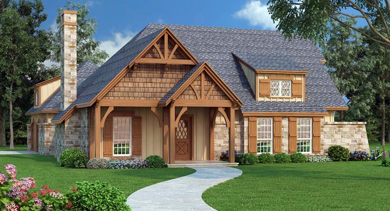 House Plan 65979 | Craftsman Style Plan with 1292 Sq Ft, 3 Bedrooms, 2 Bathrooms, 2 Car Garage Elevation