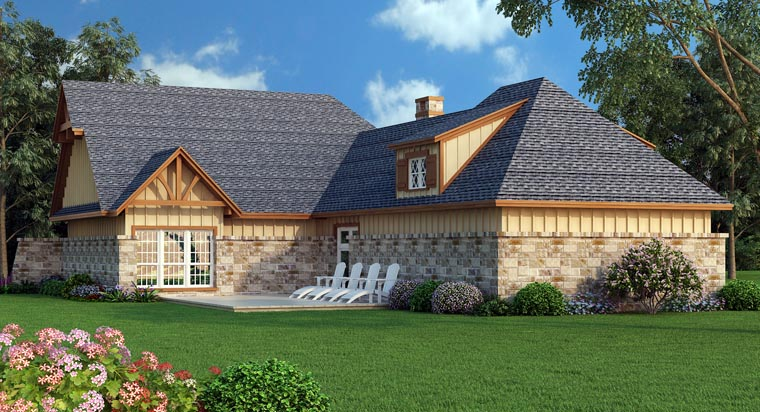 Craftsman House Plan 65979 with 3 Beds, 2 Baths, 2 Car Garage Rear Elevation