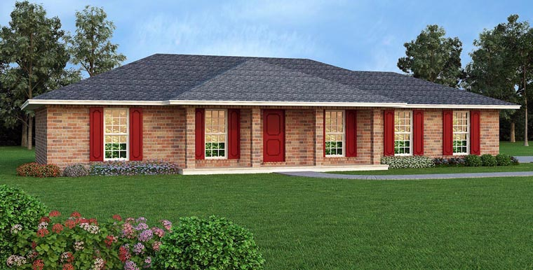 House Plan 65989 | Style Plan with 1243 Sq Ft, 3 Bedrooms, 2 Bathrooms, 2 Car Garage Elevation