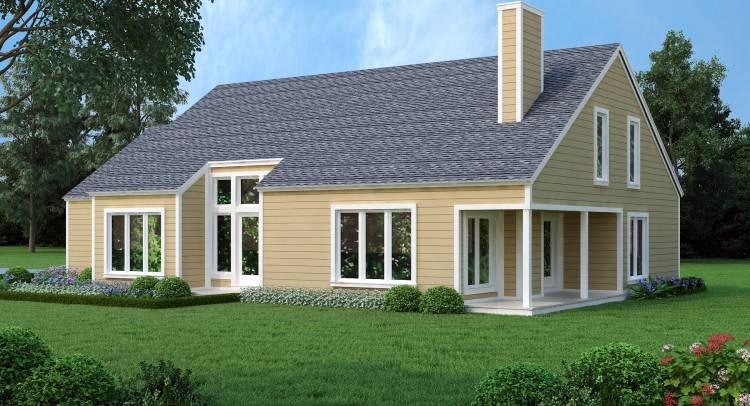 House Plan 65993 with 3 Beds, 3 Baths, 2 Car Garage Rear Elevation