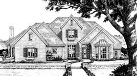 House Plan 66005 | European French Country Tudor Style Plan with 3002 Sq Ft, 4 Bedrooms, 4 Bathrooms, 3 Car Garage Elevation